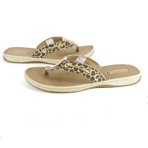 Sperry • Leopard Print & Sequin Flip Flops